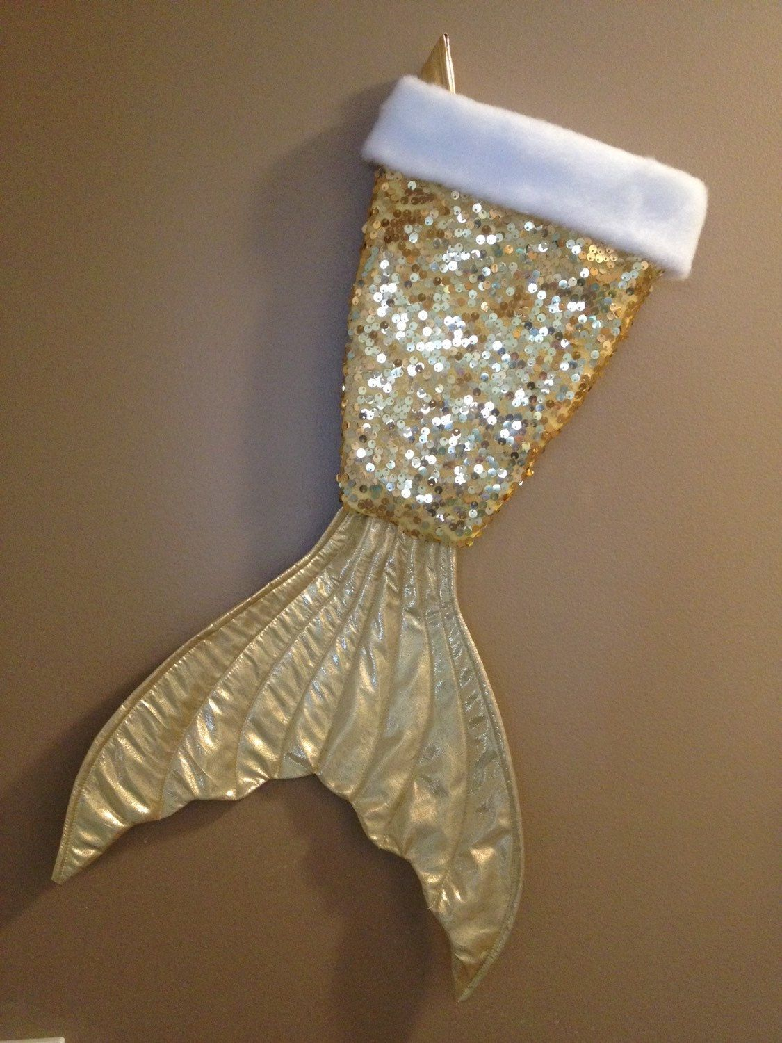 Mermaid Gift Ideas Mermaid Tail Christmas Stocking Gold Sequin Gold Shiny