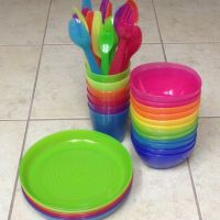 IKEA kids plates, bowls, cups, & flatware. Love the bright ...