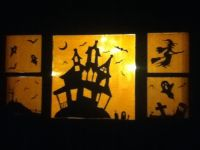 Halloween window decoration silhouettes. | Drawing ...