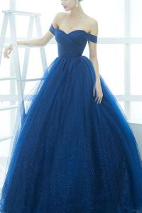 Off shoulder prom dress, ball gown, sparkly royal blue ...