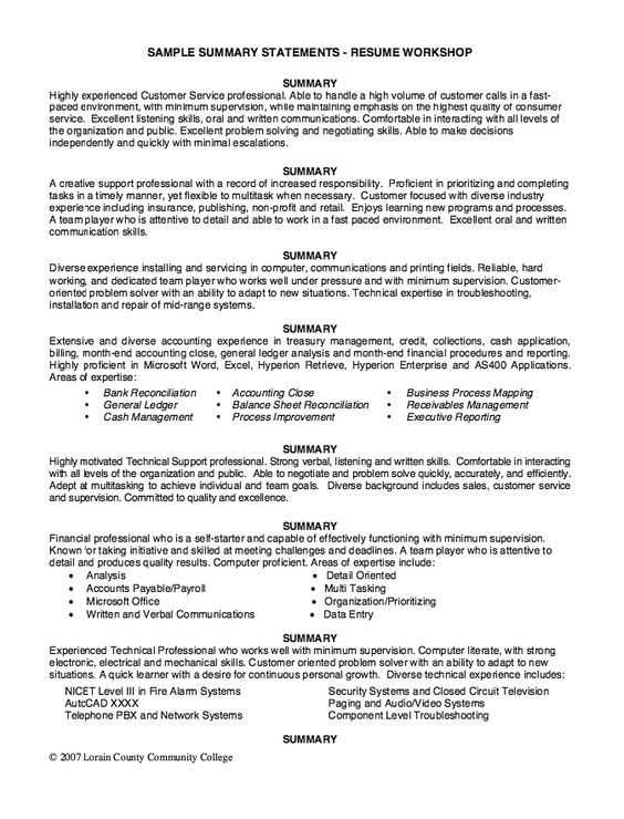 Sample Summary Statements - Resume Workshop - http\/\/resumesdesign - areas of expertise examples