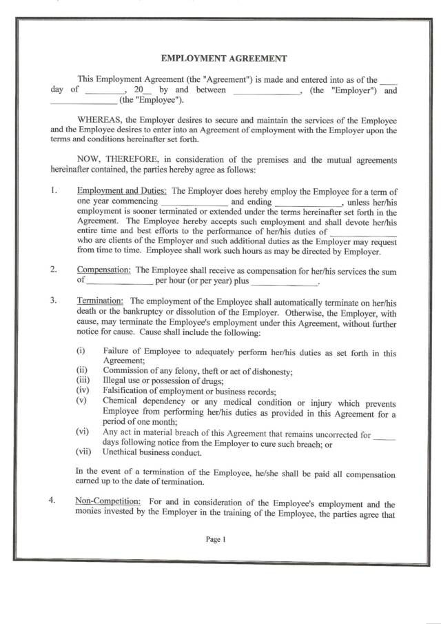 employee training contract sample blankcsat - job agreement contract