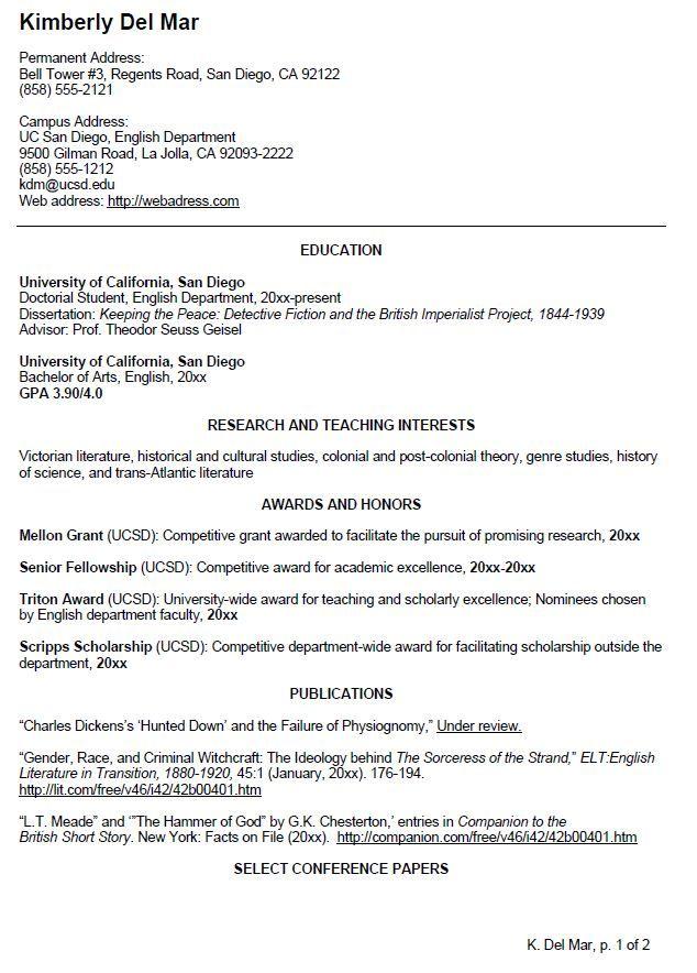 English CV Sample Writing Your Curriculum Vitae resume - examples of cv