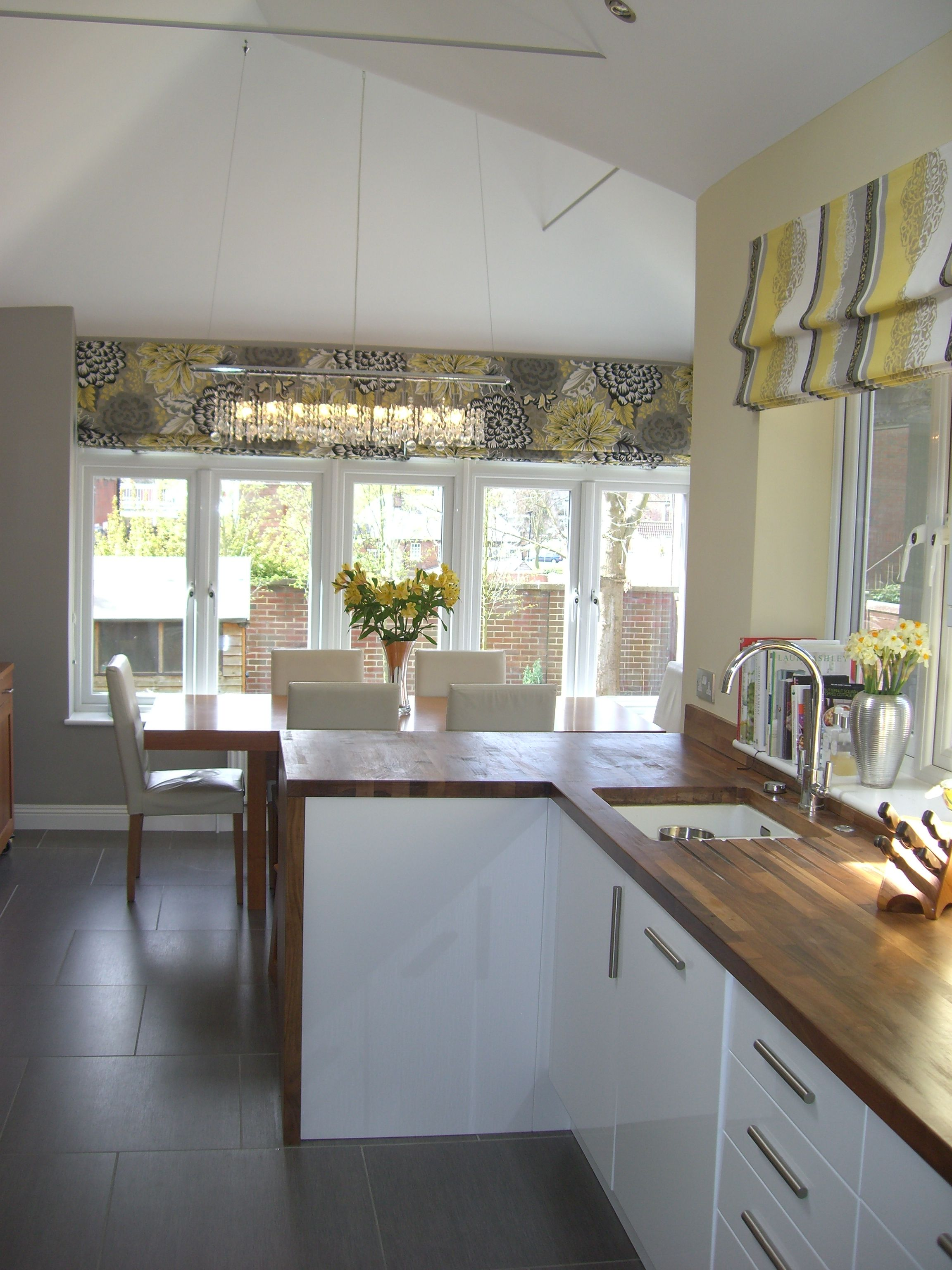 Kitchen Curtains For Yellow Walls Love The Blinds And Warm Modern Grey Yellow Scheme Floor