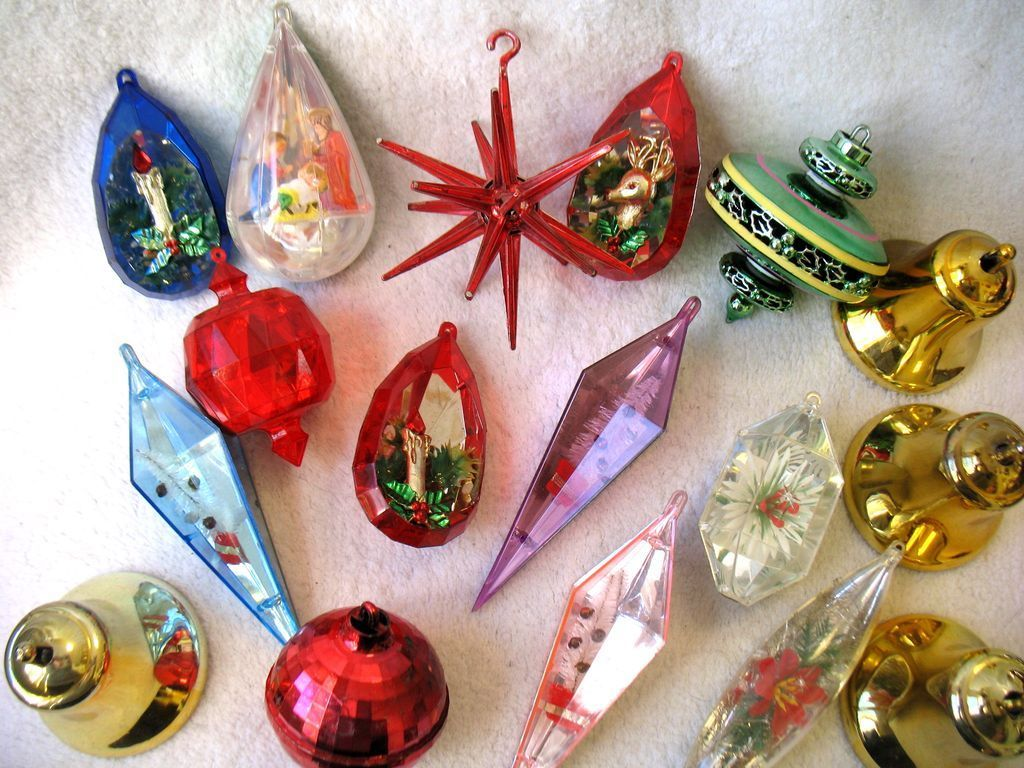 17 vintage plastic christmas ornaments atomic sputnik diorama bell disco ball