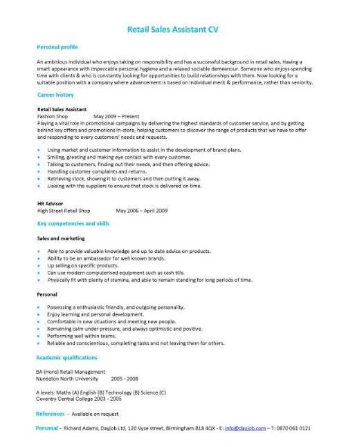 Retail Resume Skills Sales Assistant Cv Example Shop Store Resume - retail skills for resume