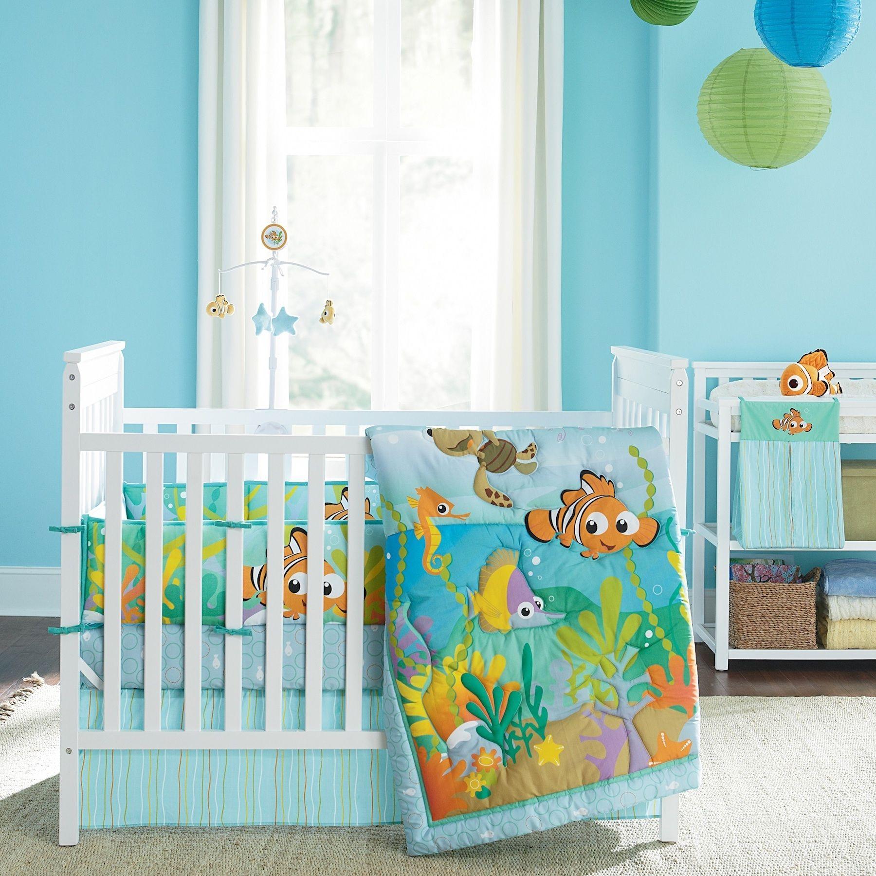 Disney baby finding nemo reef 4 piece crib bedding set