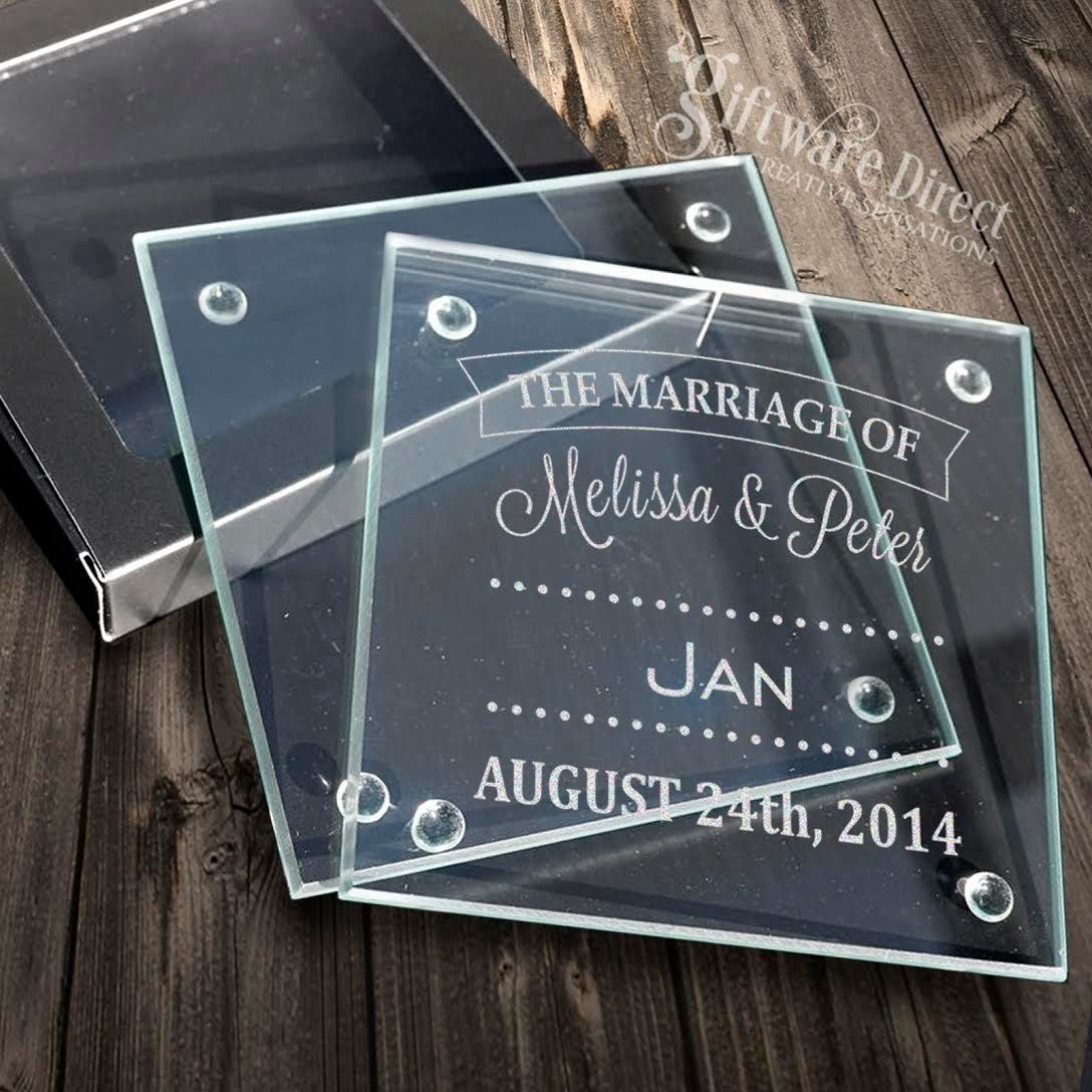 Gift Cards Online Australia 100 X Personalised Engraved Glass Wedding Coasters Favour