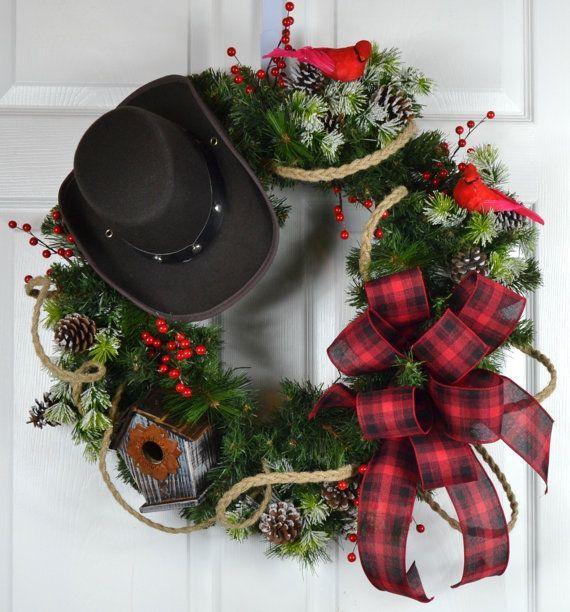 Cowboy Christmas Winter Wreath - Christmas Front Door Wreath - western christmas decorations