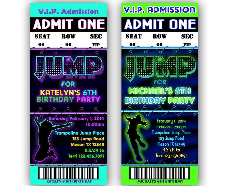 Neon Printable Jump Invitations u2013 Jump Birthday Party Invitation - printable ticket invitations