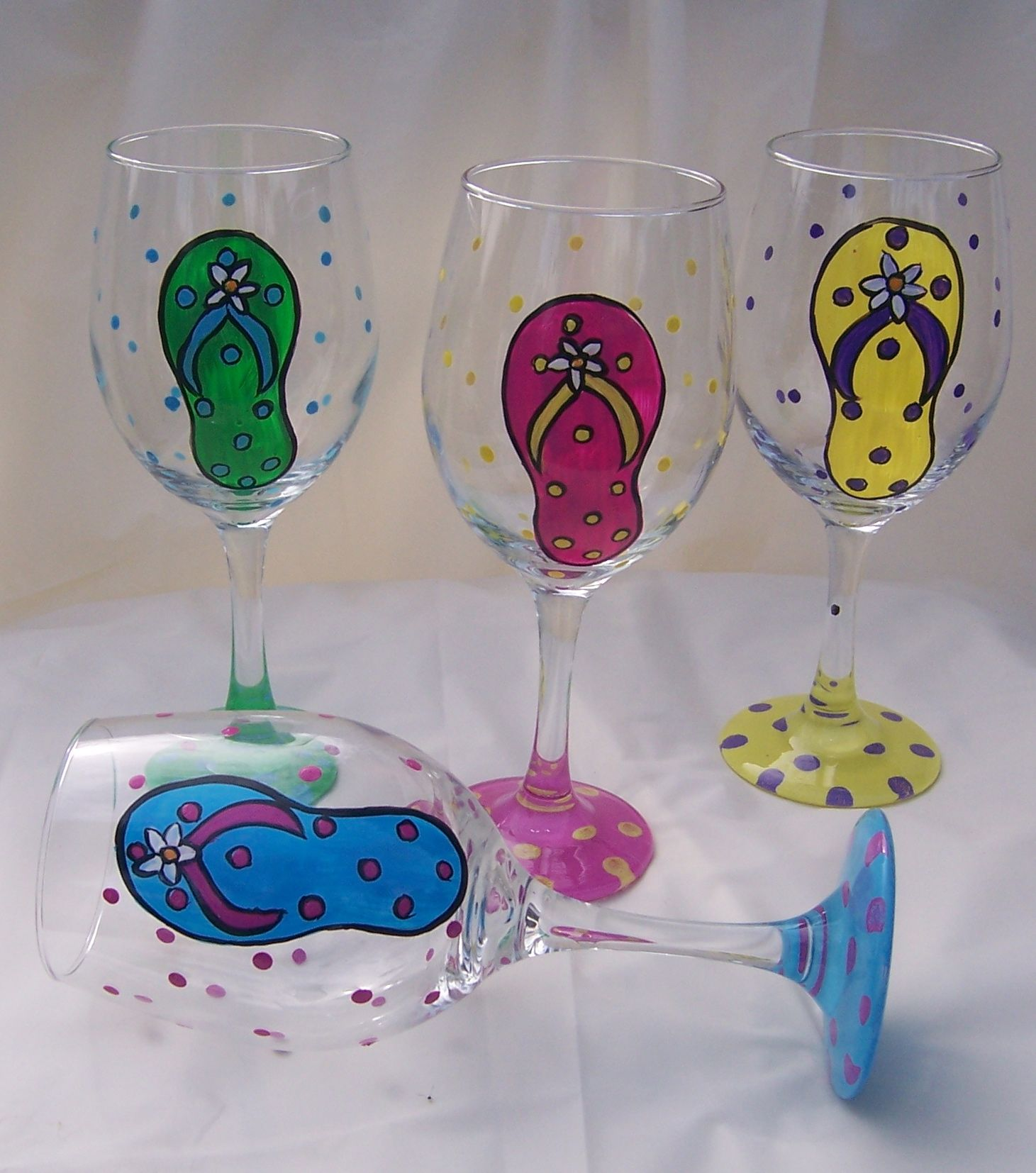 Small Stem Wine Glasses Hand Painted Decorative Glasses Personalized Wine Glass
