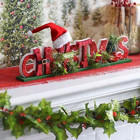 Cutout Merry Christmas Tabletop Sign Christmas tabletop - kirklands christmas decor