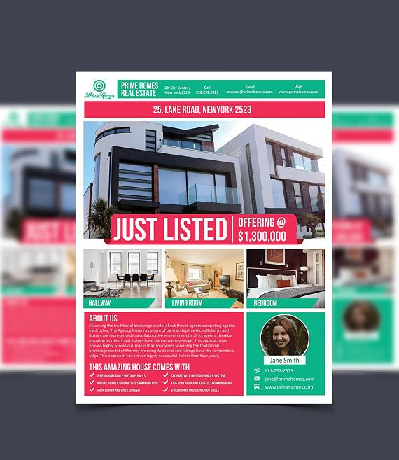 Real Estate Advertising Flyer Just Listed Template - Editable in - powerpoint flyer template