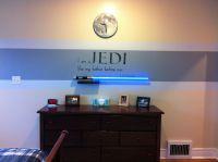 Star Wars bedroom idea. Red stripe instead since my boy ...