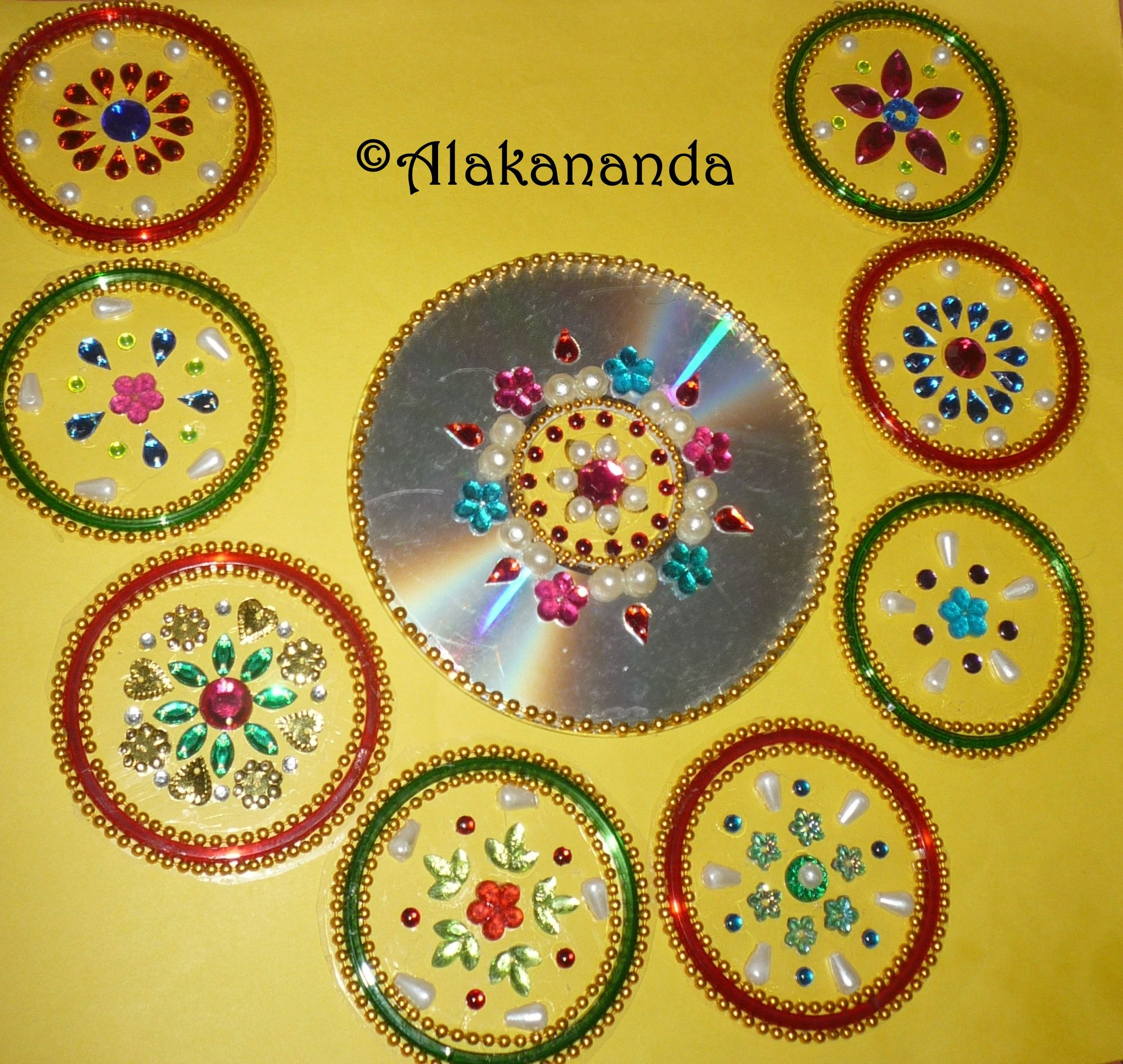 Diwali Decoration Ideas And Crafts Kundan Rangoli Using Bangles Rangoli Pinterest Craft
