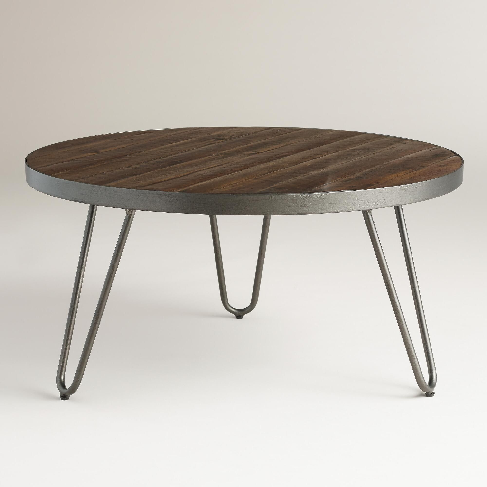 Round Wood Coffee Table With Metal Legs Round Wood Hairpin Coffee Table Hairpin Legs Acacia