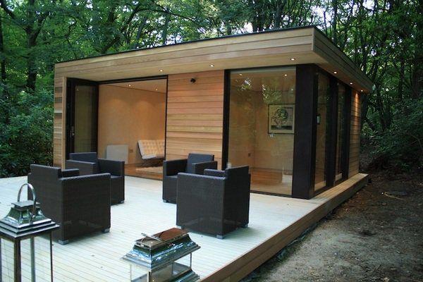modern garden shed design large windows wooden deck outdoor - garden shed design