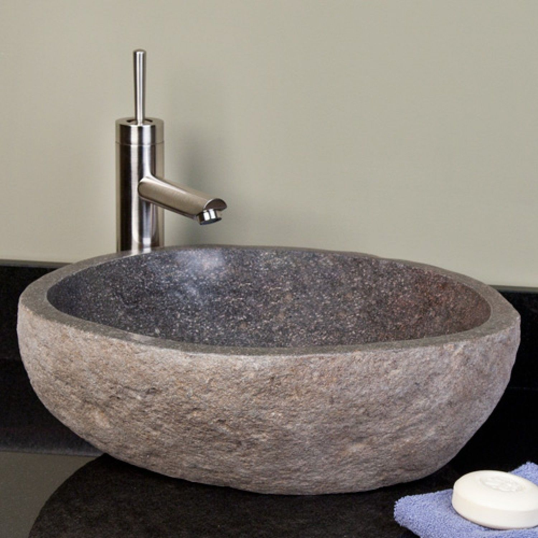 Dark Gray River Stone Vessel Sink