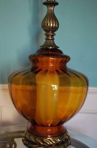 VTG Hollywood Regency Amber Globe Table Lamp Optic Glass ...