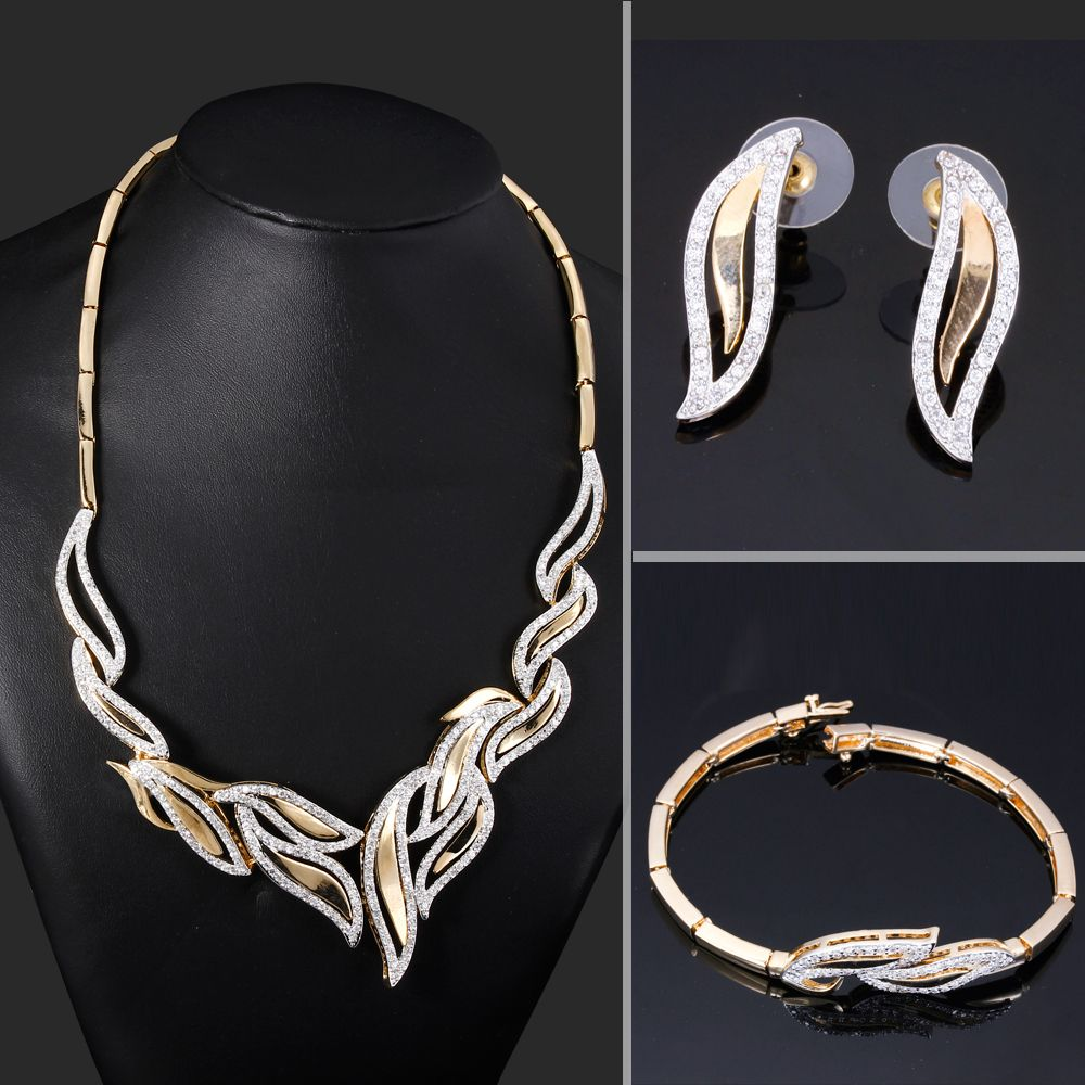 wedding jewelry sets Find More Jewelry Sets Information about Romantic Leaf Design Bridal Wedding Jewelry Set of 3piece Necklace