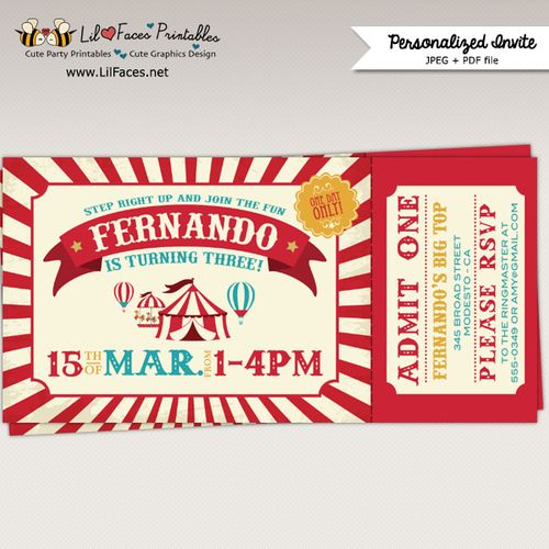 Vintage Circus Carnival Birthday Party Printable Ticket - printable ticket invitations