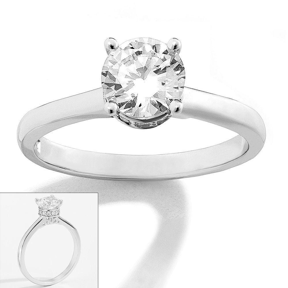 kohl's wedding rings Simply Vera Vera Wang 14k White Gold 1 ct T W Diamond Solitaire Ring