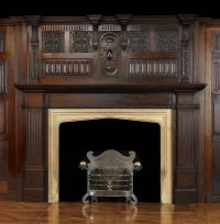 Antique Oak wood Jacobean style Arts and Crafts Fireplace ...