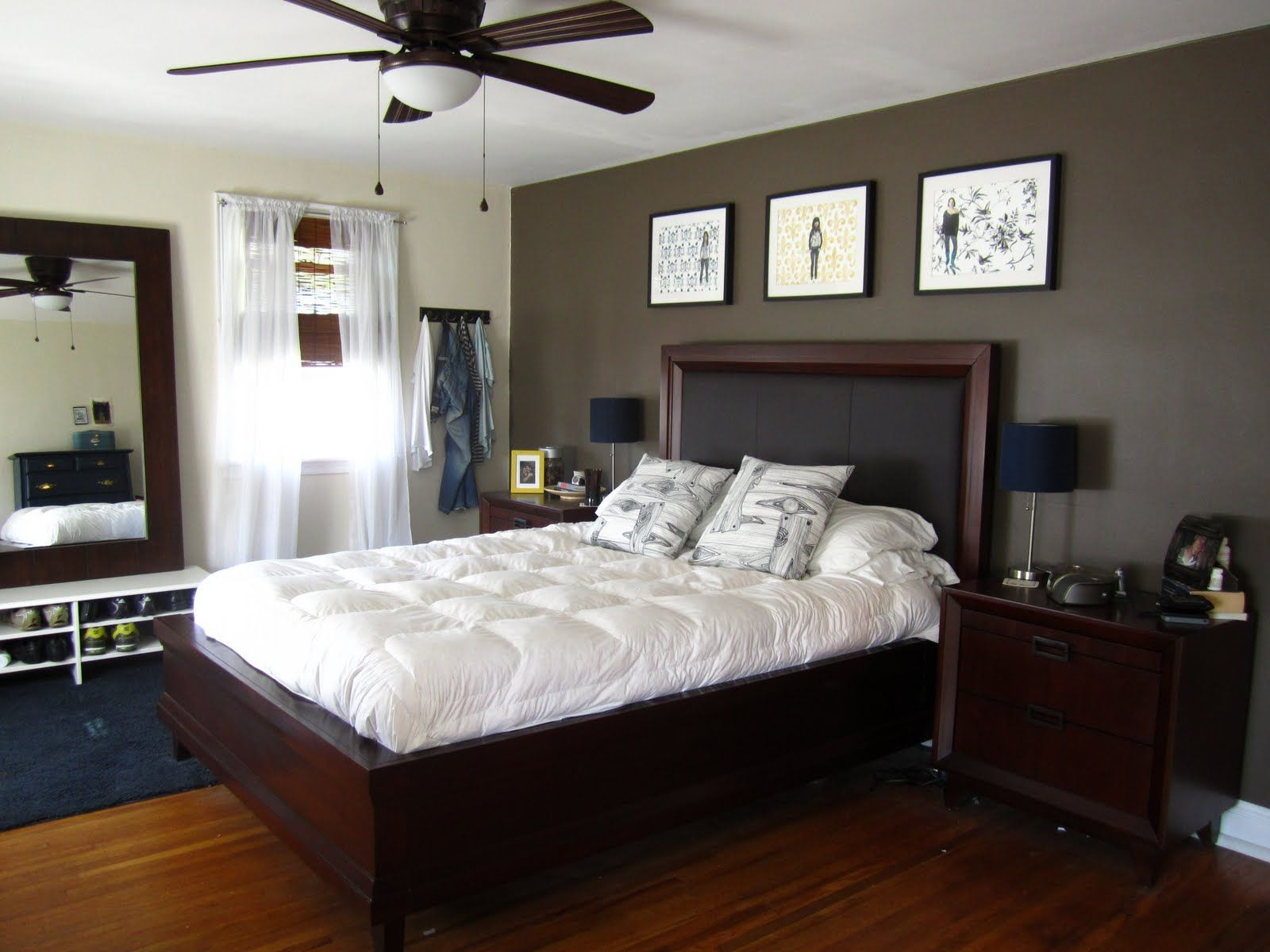 Bedroom fancy white tufted bed with dark espresso queen size platform bed and brown paint wall also terrific ceiling lamp fan attractive bedroom accent