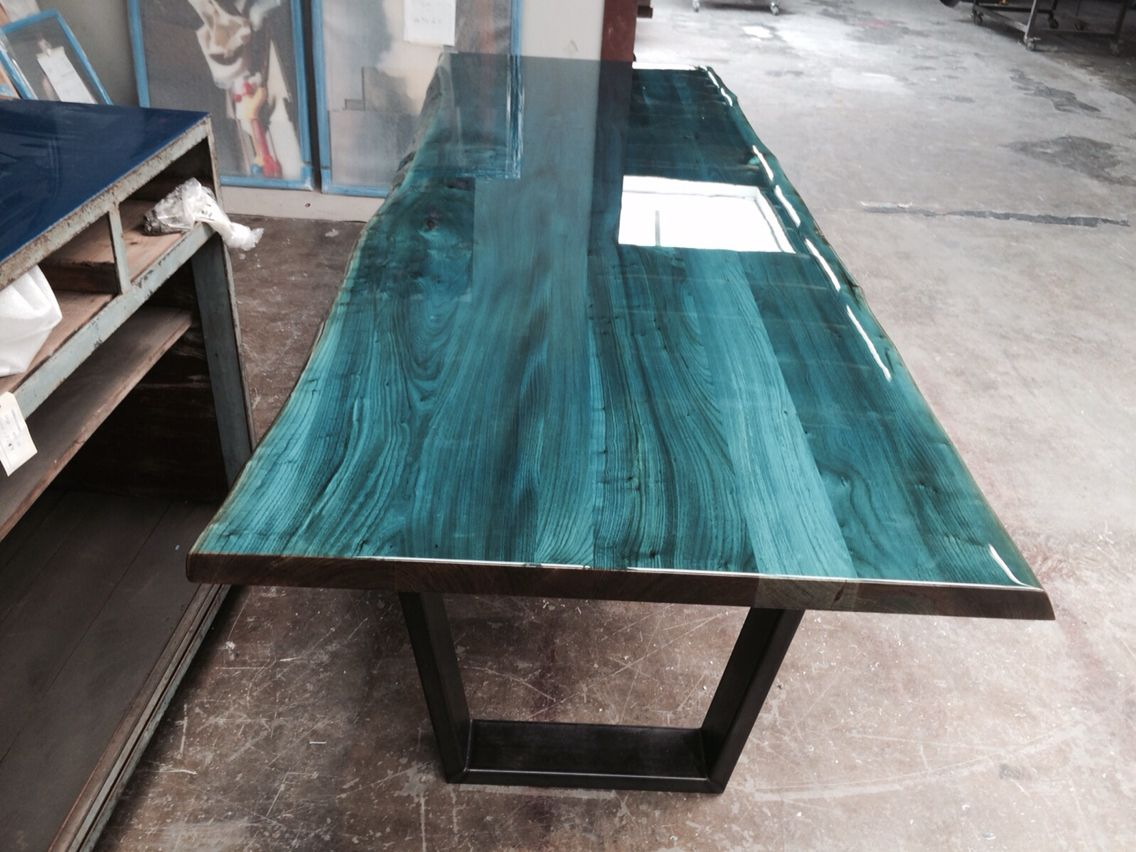 Hubtisch Wohnzimmer Intense Blue On Elm Tabletop Designed And Produced By