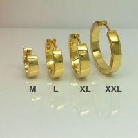 Gold hoop earrings, solar yellow gold hoops, men's ...