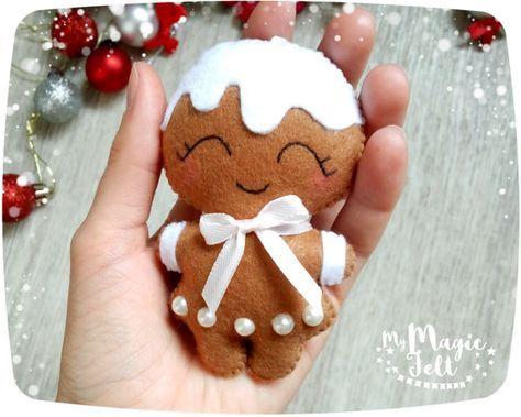 Christmas ornaments felt SET of 2 Gingerbread man ornaments felt - felt christmas decorations