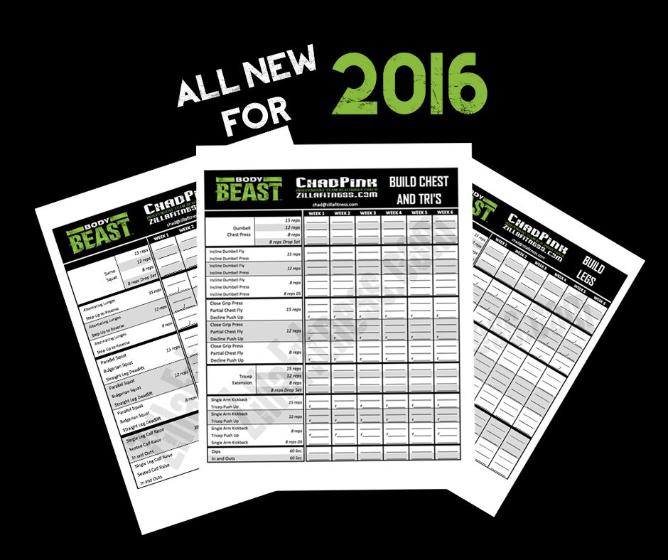 UPDATED EDITION! Body Beast workout sheets Track your Body Beast - beast workout sheet