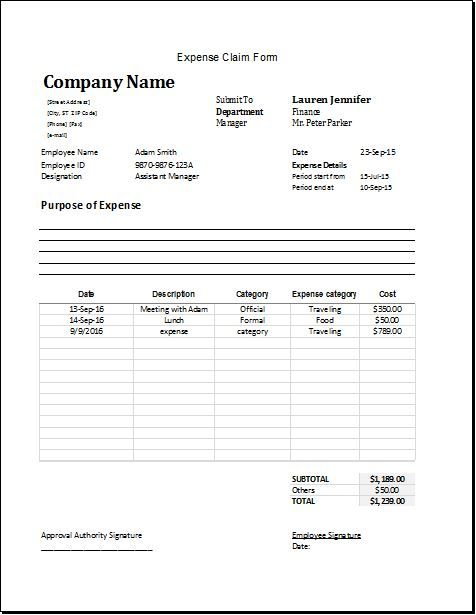 expense claim form DOWNLOAD at http\/\/wwwbizworksheets - company forms templates