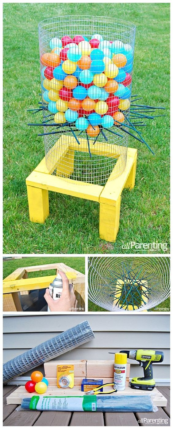 Kinderspiele Für Draußen Diy Projects Outdoor Games Diy Giant Backyard Kerplunk Game