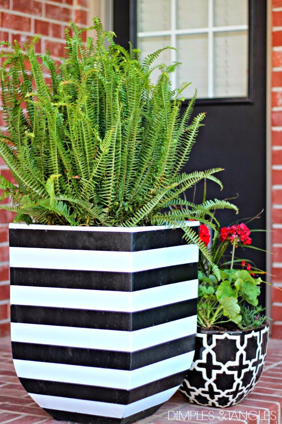 Diy black and white striped pots