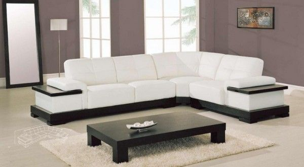 White Leather Corner Sofa In Minimalist Living Room | Class