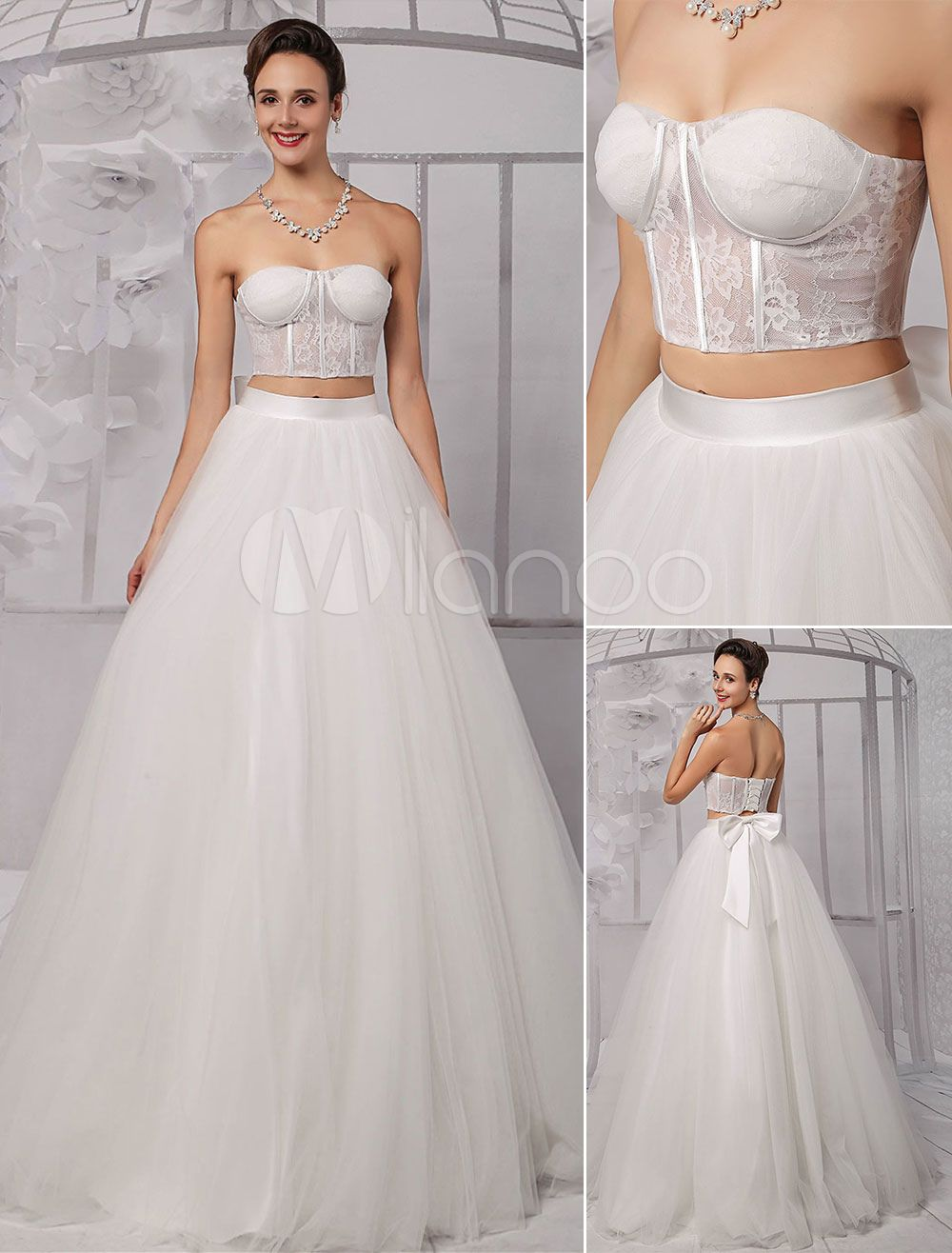 wedding dress corset top Two Pieces Strapless Lace Corset Crop Top Ball Gown Wedding Dress With Tulle Skirt