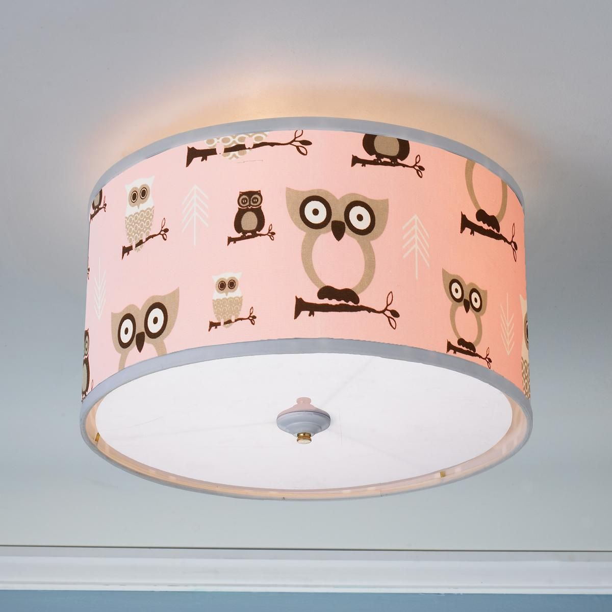 Nursery Touch Lamp Owls Drum Shade Ceiling Light Drum Shade Ceiling Lights