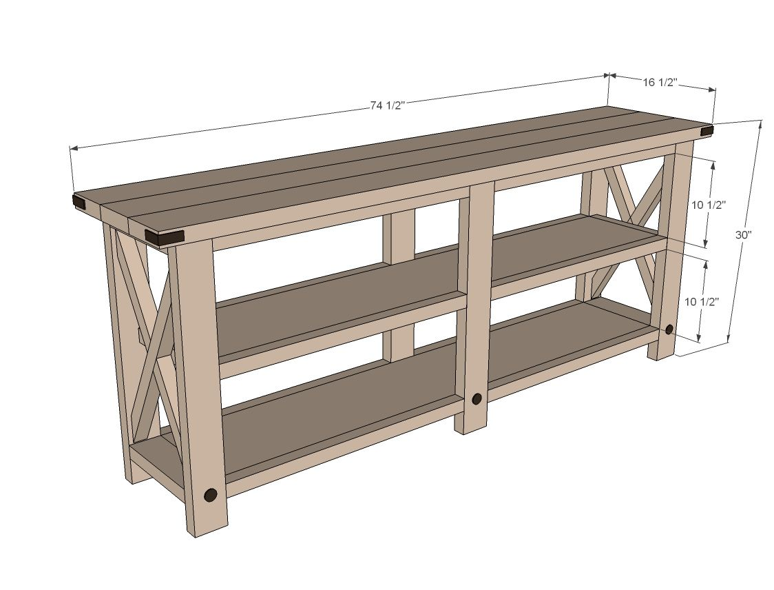 rustic console tables kitchen console table Ana White Build a Rustic X Console Free and Easy DIY Project and Furniture
