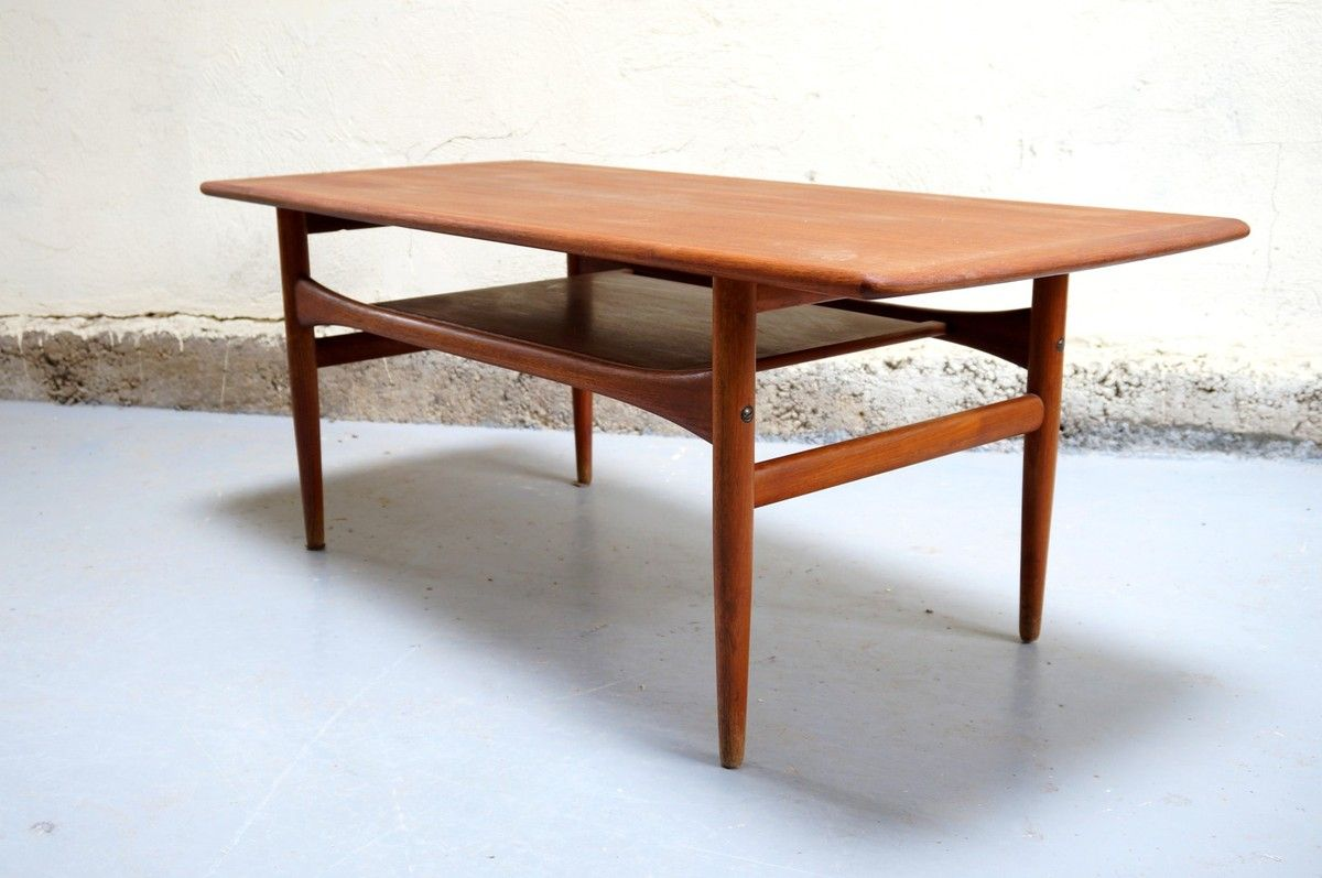 Table Teck Occasion Table Basse Scandinave Arrebo Mobler Danois Vintage Danish