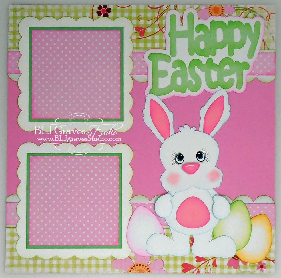 Elite4u premade scrapbook page paper piecing happy easter bunny bljgraves
