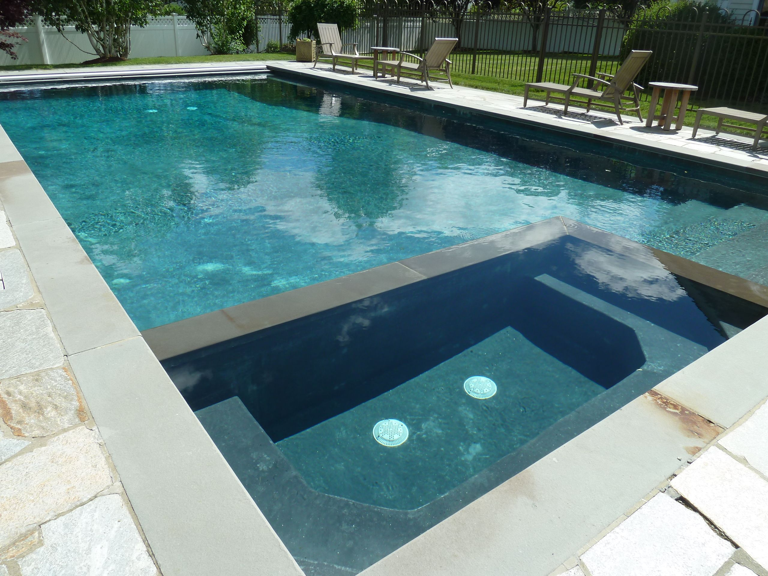 Jacuzzi Pool Covers Rectangle Gunite In Ground Swimming Pool And Spa With