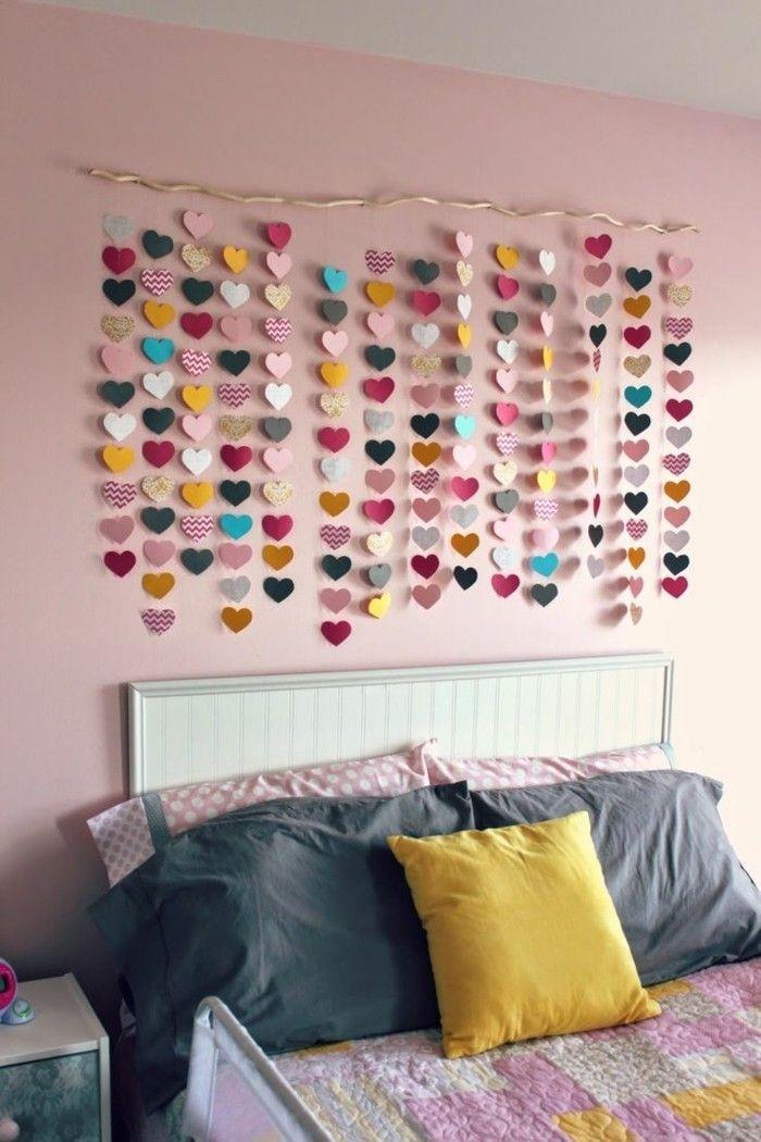 schlafzimmer ideen wandgestaltung mädchenzimmer herzen - wandgestaltung