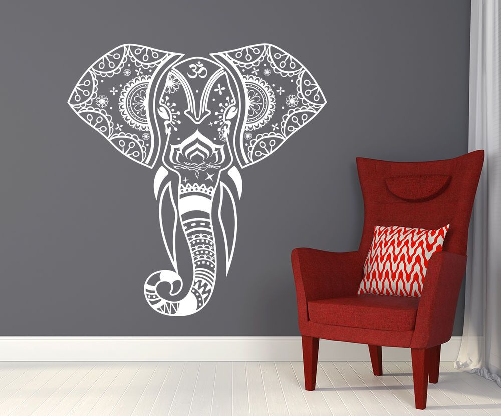 Mandala Elephant Wall Decals Hippie Decal Yoga Vinyl