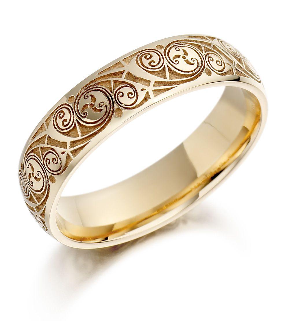 cool wedding bands Wedding Ring Mens Gold Celtic Spiral Triskel Irish Wedding