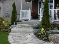 Big slab and natural placement of slate on walkway   Front ...
