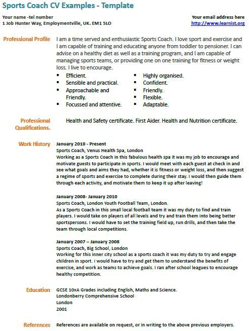 sports coach cv example Professional Pinterest Cv examples - athletic resume template