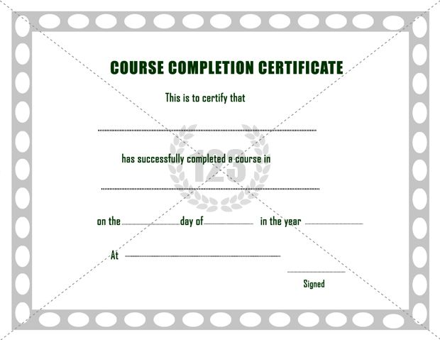 Free Course Completion Certificate Template -123Certificate - free certificate of completion template