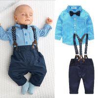 New Boy Baby Kids Boy Bow Tie Plaid Shirt Tops+Suspender ...