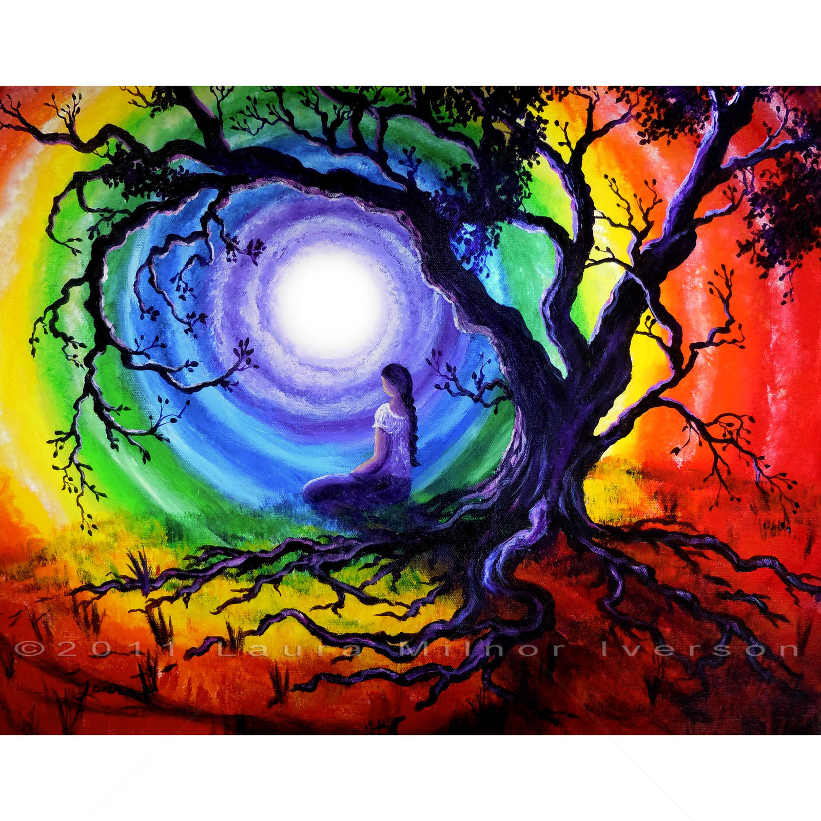 Pinturas Hippies Original Painting Tree Of Life Meditation Rainbow Yoga